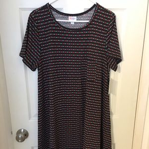 NEW LuLaRoe Carly Dress - XL Navy Blue & Black